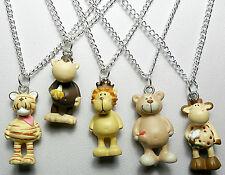 Animal pendant, 16'' chain - Tiger, Monkey, Lion, Bear, Giraffe