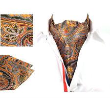 2016 Gold Paisley Men Silk Cravat Ascot Tie Set Self-tied Tie Handkerchief Set