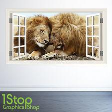 LION di Adesivi Murali Finestra a colore pieno-Camera da letto salotto TIGER W100