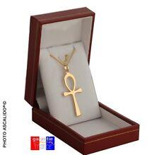 Pendentif Croix Ansée Egyptienne Ankh En Véritable Plaqué or avec chaine + ecrin