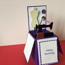 Handmade card personalised pop up card HABERDASHERY theme