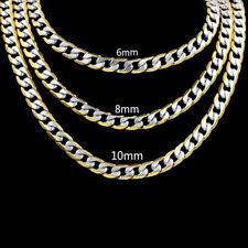 ACERO inox. Cadenas Largo 60cm BAÑADO EN ORO 750 18 quilates 6,8, 10mm Fette