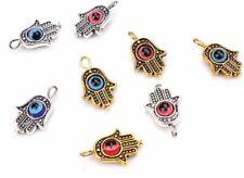 10/100Pcs Hamsa Hand EVIL EYE Kabbalah Luck Charms Pendant Fit Bracelet 19x12mm