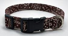 Bandanna Brown Dog Collar Adjustable Handmade Custom Designer
