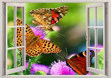 Beautiful Butterfly Flowers Summer Sun 3D Effect Window Wall View Mural Art 574