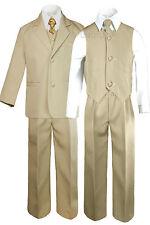 Boy Kid Teen Formal Wedding Party Prom Khaki Stone Suit Tuxedo + Design Tie 5-20