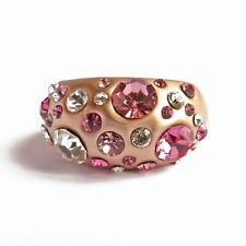bague plaqué or rose gold vernis mat cristal Swarovski blanc taille 50 ou 53