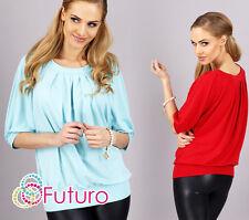UK Elegant Women's Blouse Scoop Neck 3/4 Sleeve Pleated Top One Size 8-12 FA290