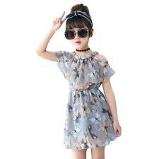 Girls Butterfly Print Cold Shoulder Elastic Waist Grey Chiffon Dress Age 3 - 10