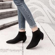 Elegant Womens Back Zip Ankle Boots Pointy Toe Kitten Heel Fashion Black Booties