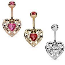 PIERCING OMBELICO vintage cuore in acciaio chirurgico in argento, oro o oro rosa
