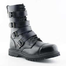 Grinders Unisex Quad CS Black 14 Eyelet Quad Buckle Safety Steel Toe Derby Boot