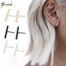 T bar Simple Stud Earrings Silver Gold Black