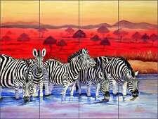 Ceramic Tile Mural Kitchen Backsplash Libby Zebra Wildlife Animal Art SLA015