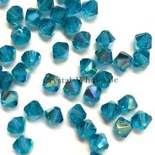 4mm Blue Zircon AB (229 AB) Swarovski crystal 5328 XILION Bicone Beads