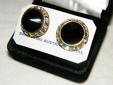 JET BLACK ONYX FACETED AUSTRIAN CRYSTAL RHINESTONE EARRINGS GOLDTONE NEW  L
