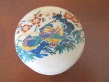 SATSUMA TRINKET BOX FLOWERS AND BIRDS DESIGN VERY FINE CRAZING OVERALL PRETTY