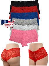 6 Women Lace Boxer Shorts Sexy Silky Lace Underwear Panties Boyshorts M,L,Xl