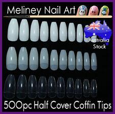 500Pc Half Cover Coffin Nail Tips False Art Acrylic Long salon supplies beauty
