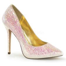 Scarpe Sposa Decoltè Decollete Glitter Rosa Cipria Tacco Alto Pleaser Amuse-20G