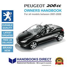 Peugeot 206cc Car Owners Handbook Manual (all UK & EU models 2001 - 2008) NEW