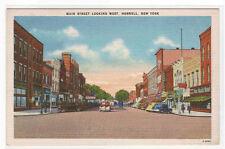 Main Street Cars Hornell NY linen postcard