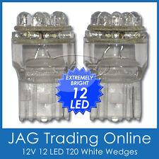 PAIR 12V T20 W3x16d 12-LED WHITE WEDGE GLOBES/BULBS - Reverse/Indicator/Blinker