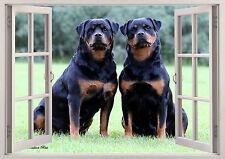 Rottweiller Dogs Pets Cute Puppies 3D Effect Window Wall Sticker Vinyl Poster