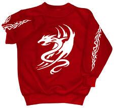 Sweat-shirt unisex S à 4Xl beau Impression Dragon Tribal 09036 rouge