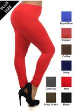 PLUS SIZE 1X 2X 3X Plain Color Light Fleece Leggings Black Red Navy Royal Blue