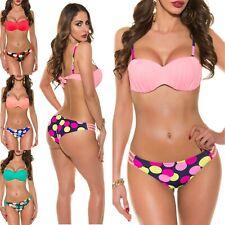 Women's Padded Top & Polka Dot Bikini Bottom Swimwear Swimsuit - XS/S/M/L/XL