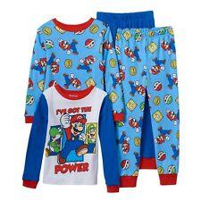 Super Mario 4 PC Long Sleeve Tight Fit Cotton Pajama Set Boy Size 6