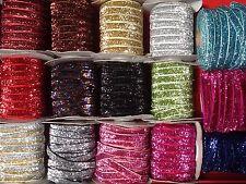 Glitter Velvet Ribbon-9mm wide Jewellery,Wedding Dresses,Gifts-Assorted colours