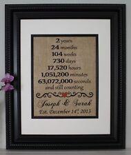 Second Anniversary - Wedding Anniversary - Personalized - Burlap Wall Art