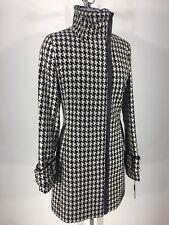 Calvin Klein NWT Modern Black/White Houndstooth Coat w Black faux leather trim