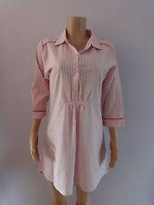 Ladies New Pink & White 100% Cotton Striped Nightshirt size 8 - 22