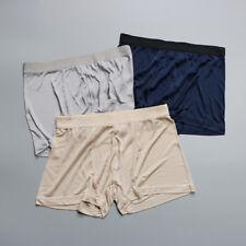 Men Silk Boxer Briefs Shorts Pants Elasticated Waist Band Underwears Solid Panty