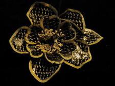 "Vintage Millinery Flower Black Ivory Tailored 3"" Hat Wedding or Hair SN"