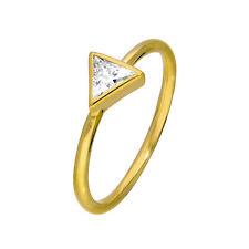 Oro Plata & Cristal de la CZ cruce Triángulo Anillo Tamaño J-W