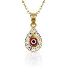 14k Yellow or White Gold CZ Pear Shape Evil Eye Pendants