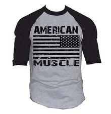 Men's American Muscle US Flag Baseball Raglan T Shirt Workout Biker USA Gym Tee