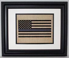 POLICE Gift - Thin Blue Line Flag - Burlap American Flag - Burlap Wall Art