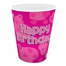 Joyeux Anniversaire Coeurs Roses goblets fête papier 266ml BOISSON tasses