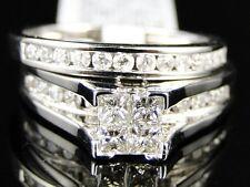 LADIES WOMENS WHITE GOLD PRINCESS CUT DIAMOND BRIDAL ENGAGEMENT RING SET .90 CT