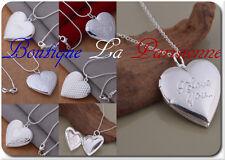 Medaillon Foto Kette+Anhänger Kette Halskette Herz Amulette Versilbert