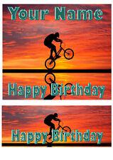 Personalizado Ciclismo Ciclista Cumpleaños cake//cupcake Topper sobre comestibles Papel De Arroz