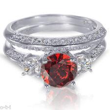 White Gold Plated Brilliant Garnet Sterling Silver Wedding Engagement Ring Set