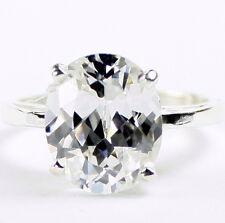 • R055-WG, 6 ct Silver Topaz, 10k White Gold Ladies Ring -Handmade
