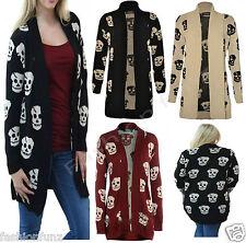 Plus Size Womens Skeleton Skull Print Holloween Knitted Open Cardigan Top 8 22