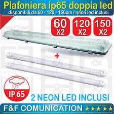 PLAFONIERA STAGNA NEON IP66 LED PER ESTERNO 60 120 150 NEON LED INCLUSI